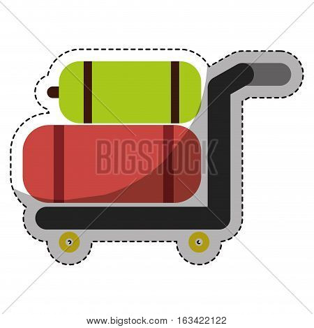 hand cart with luggage, icon over white background. colorful design. vector illustration