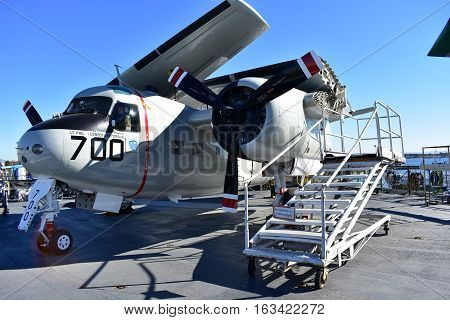 San Diego, California - Usa - Dec 04,2016 - Uss Midway Museum East Way Airline