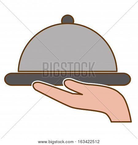 hand with platter icon over white background. hotel services concept. colorful design. vector illustration