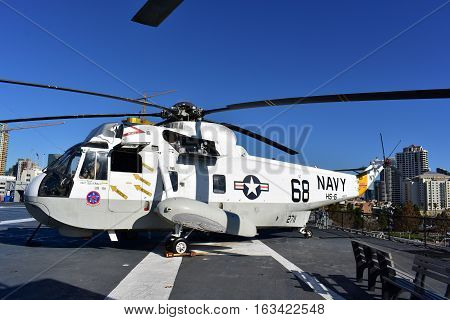 San Diego, California - Usa - Dec 04,2016 - Navy Helicopter 68  Uss Midway Museum