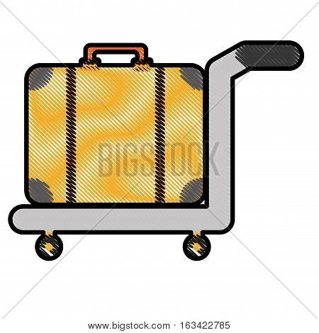 hand cart with luggage, icon over white background. colorful and sketch design. vector illustration