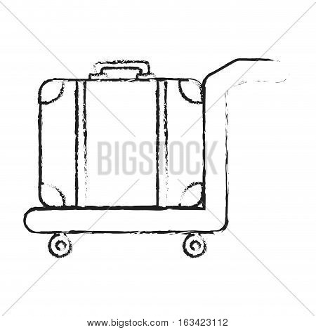 hand cart with luggage, icon over white background. vector illustration