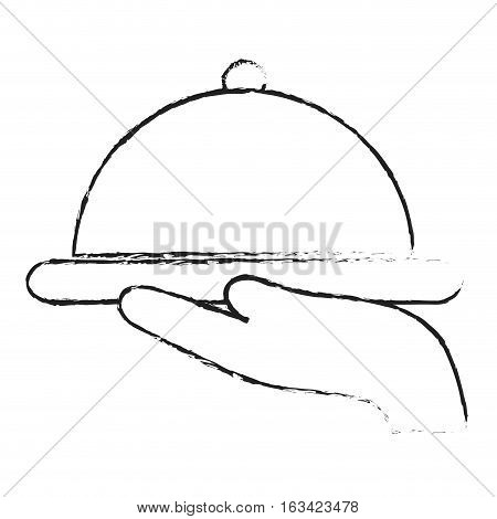 hand with platter icon over white background. hotel services concept. vector illustration