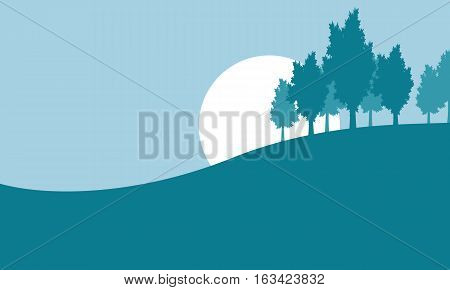 Silhouette of tree on hill vector illustration