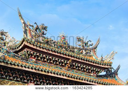Asia culture concept - Roof with beautiful decoration of famous heritage landmark the traditional old oriental Chinese temple lungshan in Taipei Taiwan
