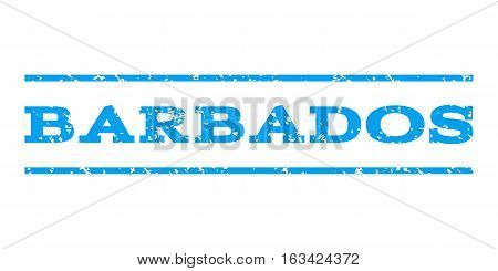 Barbados watermark stamp. Text caption between horizontal parallel lines with grunge design style. Rubber seal stamp with dust texture. Vector blue color ink imprint on a white background.