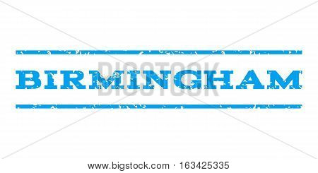 Birmingham watermark stamp. Text caption between horizontal parallel lines with grunge design style. Rubber seal stamp with scratched texture. Vector blue color ink imprint on a white background.