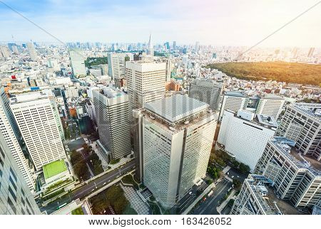 Business and culture concept - panoramic modern city skyline bird eye aerial view of Meiji Shrine under dramatic sun and morning blue cloudy sky in Tokyo Japan