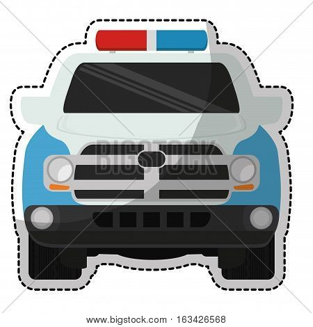 police car vehicle icon over white background. colorful design. vector illustration