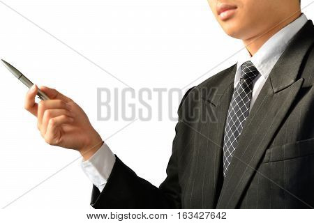 Man or businessman holding pen and pointing pen to forward financial, tax season on white background isolate