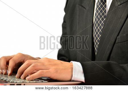 Man or businessman typing on keyboard of laptop financial, tax season on white background isolate