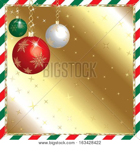 Raster Illustration of a Christmas Green and Red Striped Background with Ornaments.