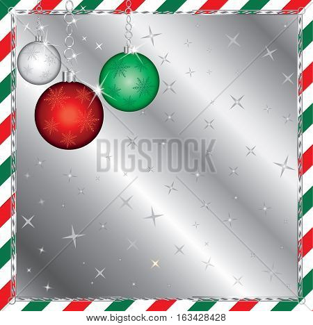 Illustration of a Christmas Green and Red Striped Background with Ornaments.