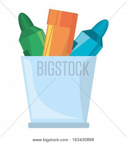 cup with various colores markers school vector illustration eps 10