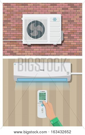 Air conditioner system. hand with remote control, internal and external units on wall. vector illustration in flat style