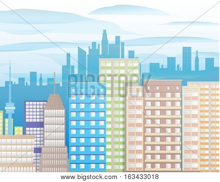 Modern City View. Cityscape with office and residental buildings, clouds. vector illustration in flat style