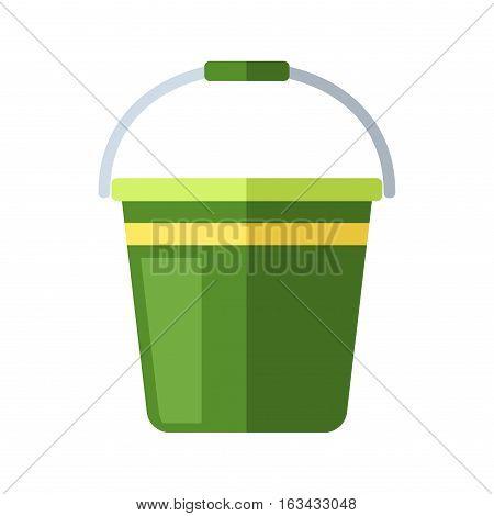 Green bucket of water. Vector illustration fire extinguish or garden household equipment. Design work liquid item challenge appliance. Clean pot garbage metal tool.