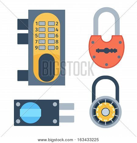 Lock icons set and security protection. Safety password sign privacy element and access shape open. Private safeguard modern firewall equipment vector collection.