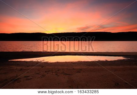 Dusk Light At Lake Burralow Penrith