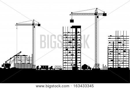 Construction site with buildings and cranes. skyscraper under construction. vector illustration silhouette