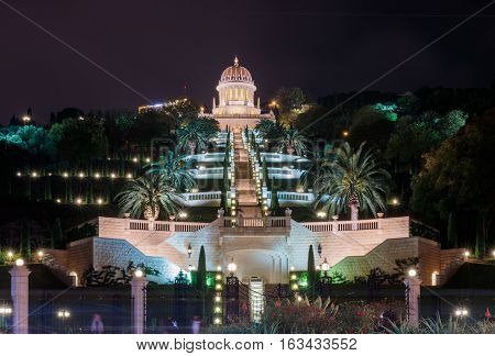 Night view of the Bahai Temple and Bahai Gardens from the German Colony in Haifa.