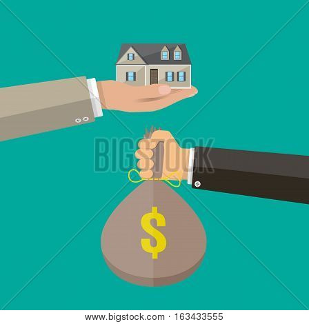 Hands with money bag house. Real estate. vector illustration in flat style