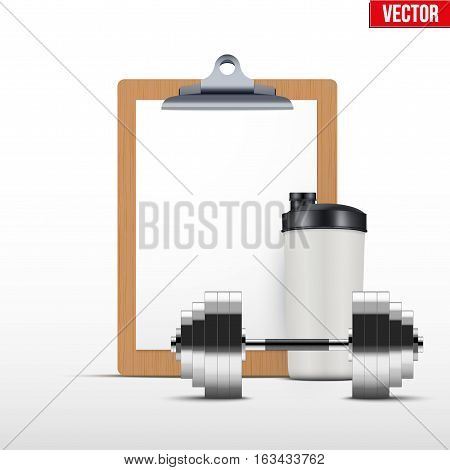 Coaching blank clipboard and workout bottle with dumpbell. Editable Vector illustration Isolated on white background.