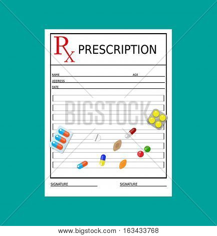 rx prescription blank and pills. Healthcare, hospital and medical diagnostics concept. vector illustration in flat style