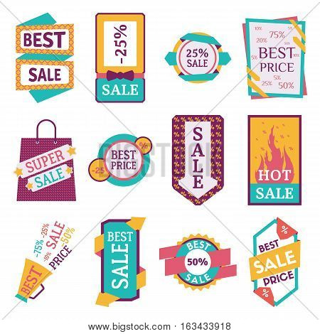 Set of commercial sale stickers, elements and badges. Shopping advertisement ribbon. Special best promotion retail discount design. High quality modern shape.
