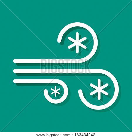 Blizzard icon vector illustration. Flat design. The linear character of the Wind and snow.