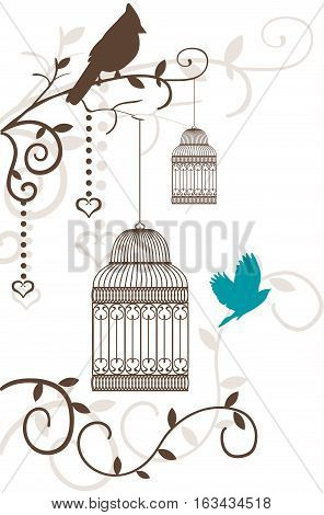 Vintage bird cage with tree branches and birds isolated on white. Invitation template. Vector illustration