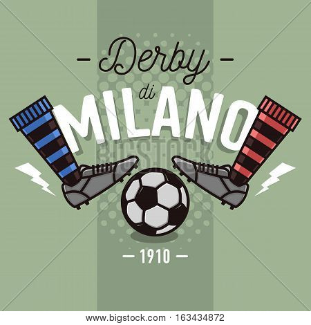 Milanese Derby Label Design. Soccer Boots And Ball Flat Thin Line Illustration.  Vector Graphic.