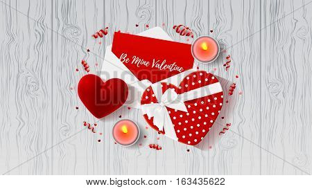 Valentine's Day greeting web banner. Top view on composition with gift boxes and red case for ring. Beautiful backdrop with confetti and serpentine on wooden texture. Vector illustration.