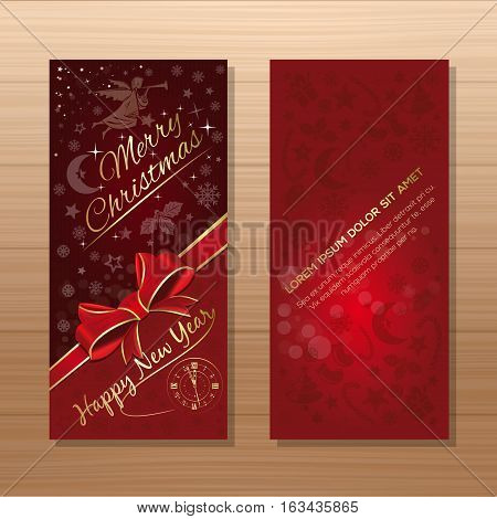 Christmas flyers template. Red background with Christmas angel, clock, Christmas decorative elements and greeting inscription - Merry Christmas and Happy New Year. Vector gift card