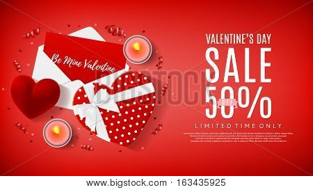 Red web backdrop for Valentine's Day sale. Top view on composition with gift box, case for ring, candles and confetti. Vector illustration with serpentine.