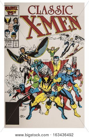 SWINDON UK - DECEMBER 28 2016: MARVEL 25 Anniversary X-Men Classic (1986 Classic X-Men) comic book on a White background