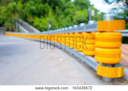 Blurry shot of road blocks or road fence in Pataya Thailand.