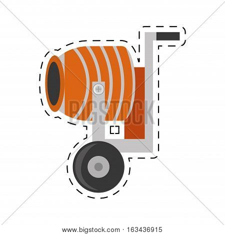 cement mixing machine wheel cut line vector illustration eps 10