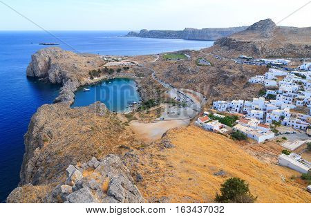 Aerial view on St. Paul's bay in Lindos Rhodes island