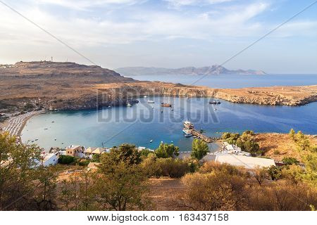 View at Lindou Bay from Lindos Acropol Rhodes island,