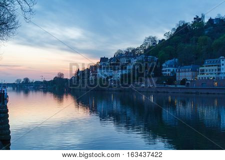 Heidelberg city view with Neckar river at sunset in Spring.