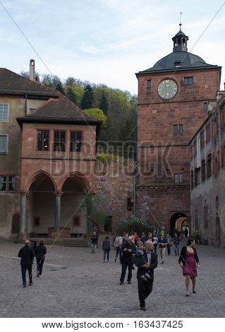 HEIDELBERG, GERMANY - MAR 29, 2014: Heidelberg castle interior, inside the castle ruins.