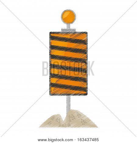 drawing roadblock traffic light warning sand vector illustration eps 10