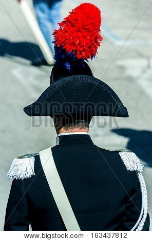 Close up feather plumed bicorne carabinieri italian policemen