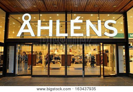 STOCKHOLM, SWEDEN - OCTOBER 17, 2013: Ahlens is a Swedish chain of department stores located in almost every city in the country and with several stores in the major cities including 18 stores in Stockholm  in Stockholm, Sweden