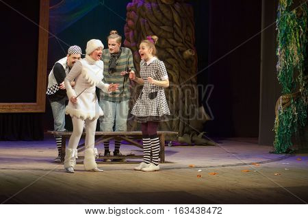 DNIPRO UKRAINE - DECEMBER 29 2016: Save Snow White performed by members of the Dnipro State Drama Theatre
