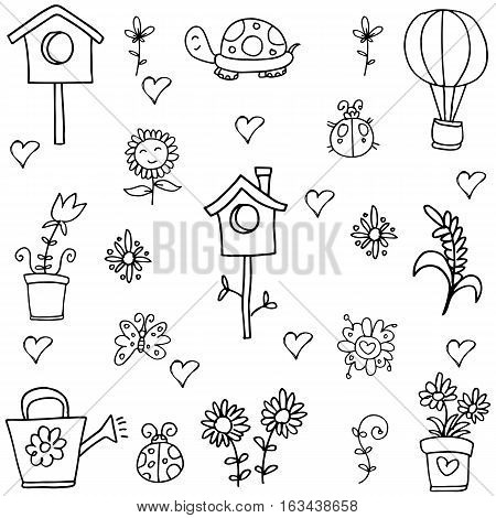 Doodle of element spring vector collection stock