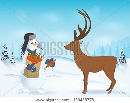 snowman treats reindeer a carrot. the package in his hands. hat with ear-flaps. winter landscape. scenic. vector illustration. pattern poster postcard.