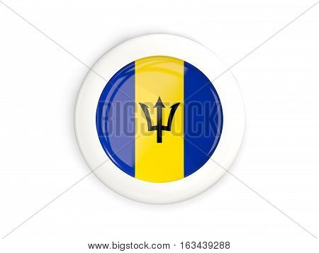 Flag Of Barbados, Glossy Round Button