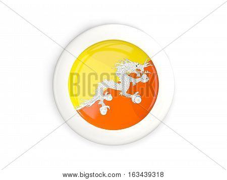 Flag Of Bhutan, Glossy Round Button